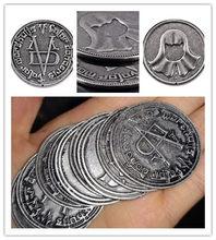 Moeda valar morghulis alta valyrian cosplay metal moeda homem sem rosto moedas de ferro prop