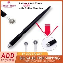 20 個使い捨て黒ローラー Microblading 針タトゥー眉毛曇刺繍ピンフィットアートメイク用マイクロマニュアルペン