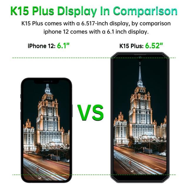 "OUKITEL K15 Plus 10000mAh NFC Smart Phone  6.52"" 3GB RAM 32GB ROM Cell Phone Quad Core Android 10 Mobile Phone MT6761 13MP 5"