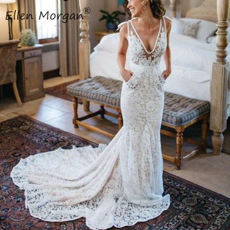 Свадебные туфли с кружевом, в богемном стиле Свадебные платья Русалочки летнее пляжное сад Merry 2019 свадебное платье Vestido De Noiva, сексуальное, v образный вырез на шее, свадебные платья BOHO