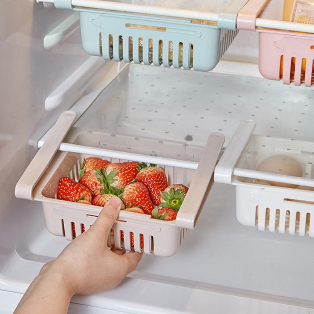 Ajustable elástico organizador para refrigerador cajón cesta refrigerador Pull-out cajones fresco estante de almacenamiento para más espacio