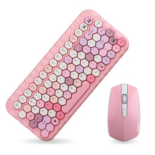 Jelly Comb 2.4G Wireless Keyboard Mouse Set Pink Girl Color Wireless Keyboard Comb for Laptop Notebook Mini Home Keyboard Set