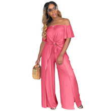 S-XXXL 6 colors Loose Slash Neck Summer women Suits Jumpsuits Outfit Two Pieces Sets casual sexy fashion Bandage Tracksuit 8034(China)