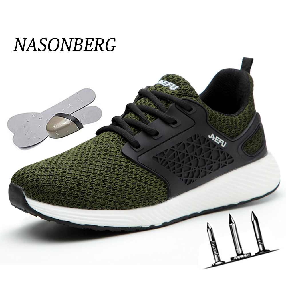 NASONBERG Steel Toe Safety Shoes Puncture Proof Men Boots Outdoor Breathable Construction Winter