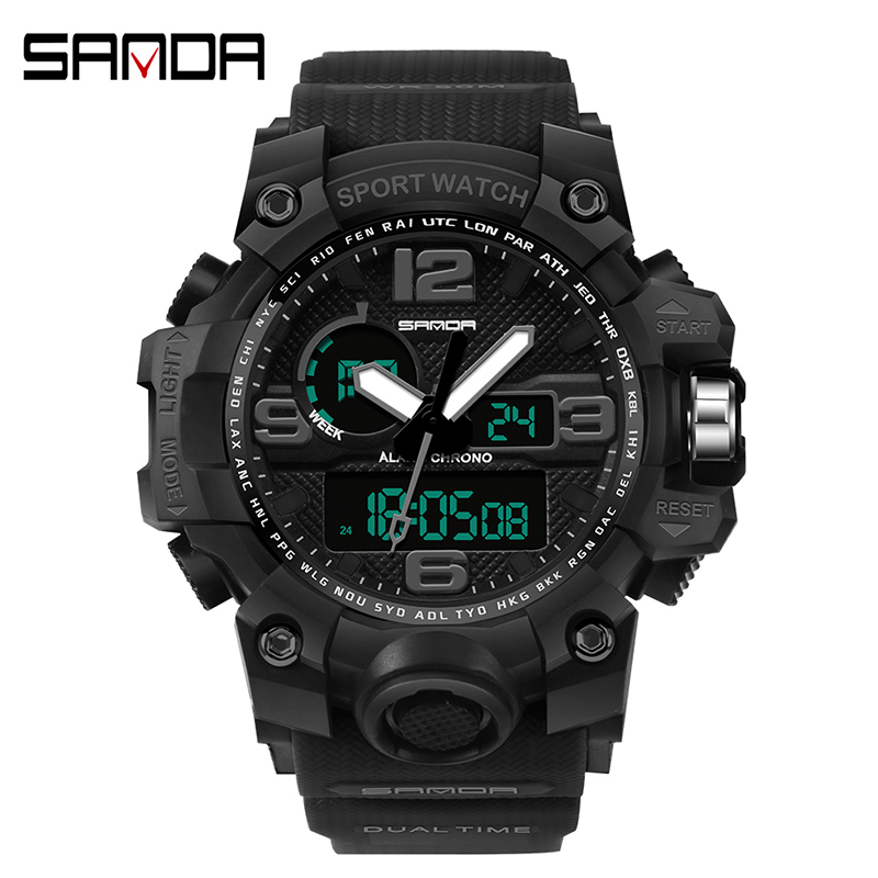 Man Watch 2019 SANDA Luxury Mens Digital LED Watch Date Sport Men Outdoor Electronic Watch Men Luxury reloj mujer