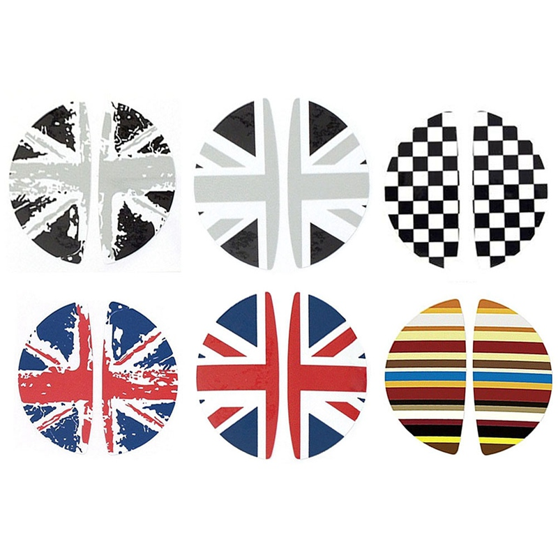 2pcs/Lot Flag Interior Door Handle Stickers Decal Decoration Car Styling For Mini Cooper R55 R56 R60 R61 Clubman Countryman