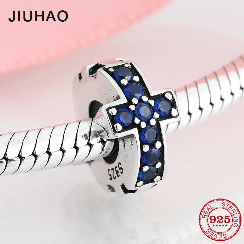 Beautiful Blue CZ Spacer Stopper Beads Real 925 Sterling Silver Bead Fit Original Pandora Charm Bracelet Jewelry Making