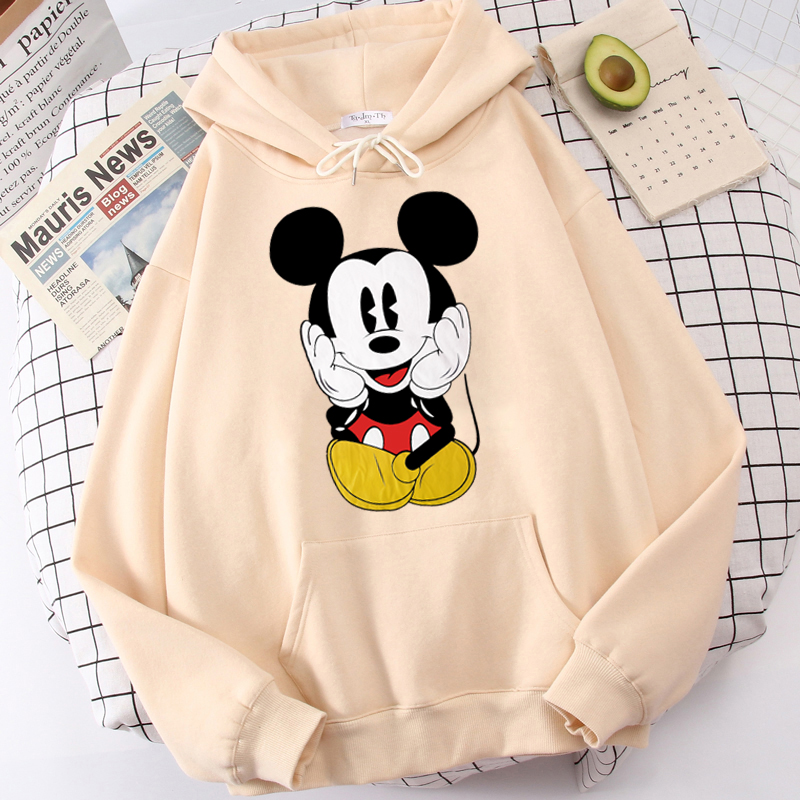 Disney Women Hoodies Minnie Mickey Mouse Hoodies Cartoon Tops Long Sleeve Pockets Sweatshirts Fashion Hooded Women 39