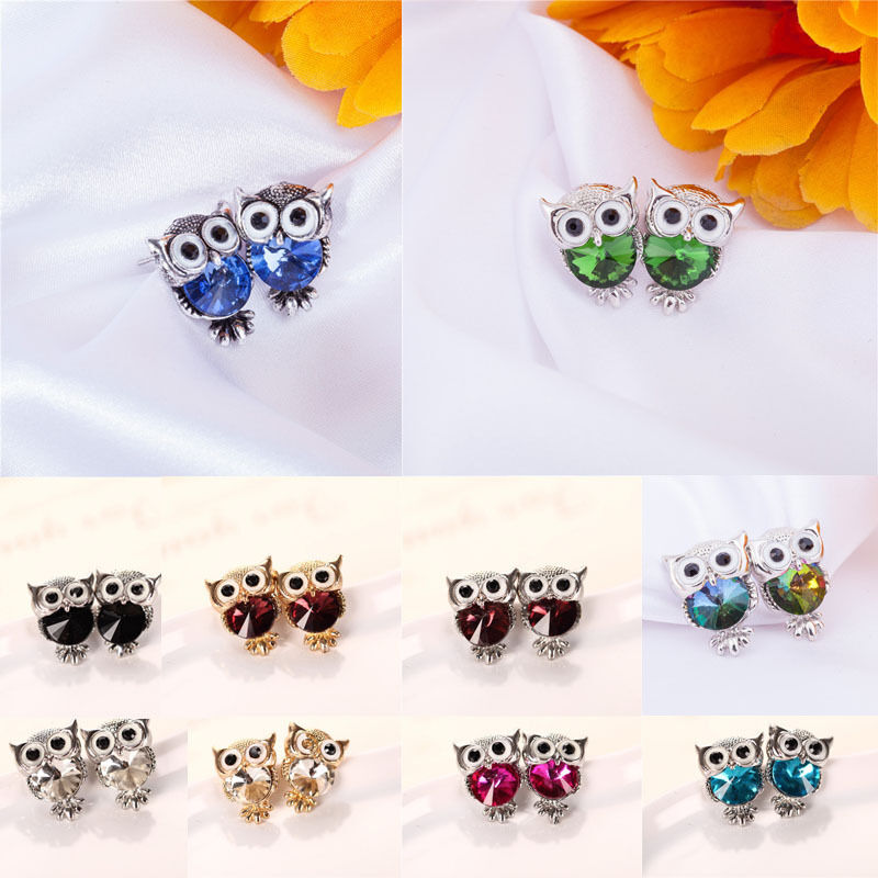 Lovely Owl Crystal Hot New Fashion Women Girls Cute Earrings 1Pair Rhinestones Ear Stud Shape Jewelry Gift