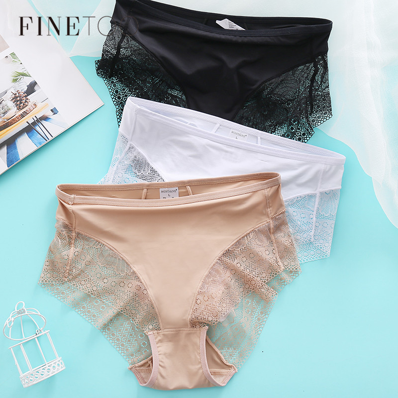 Mid-Rise Lace Panties Women Cotton Underwear M-XL Ladies Briefs Sexy Girls Slimming Underpants Female Tummy Control Panties 2020