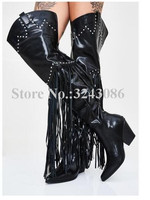 Black Leather Rivets Tassel Women Long Boots Fashion New Design Chunky Heel Fringe Thigh High Boots Lady Sexy Over the Knee Boot