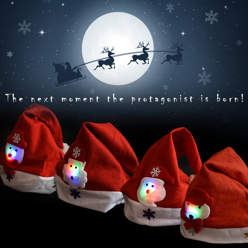 2019 LED Luminous Christmas Hat New Christmas Decorations Children Adult Hat New Year Holiday Props Party Supplies-in Christmas Hats from Home & Garden