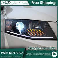 Scheinwerfer Für Auto Skoda Octavia 2015-2017 DRL Tagfahrlicht Kopf Lampe LED Bi Xenon Birne Nebel Lichter auto Zubehör