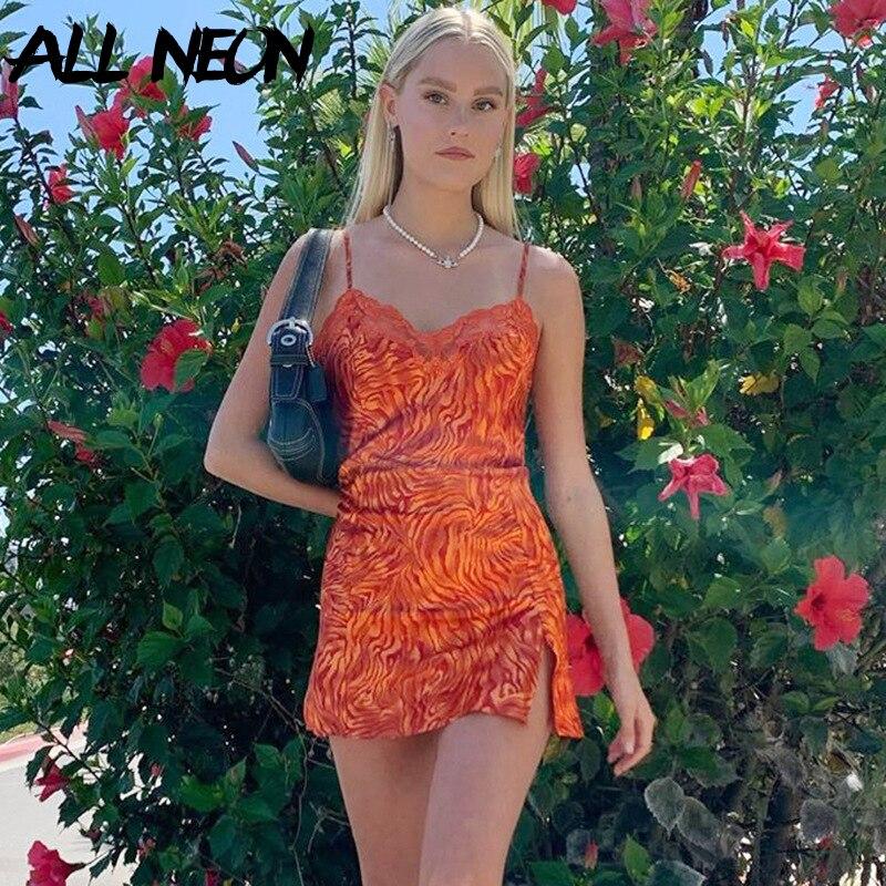ALLNeon Y2K Fashion Spaghetti Strap Printing Lace Trim Cami Dresses E-girl Sweet V-neck Backless Slit Mini Dresses Partywear New