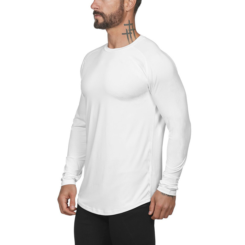 New <font><b>Mesh</b></font> solid <font><b>long</b></font> sleeve t <font><b>shirt</b></font> <font><b>men</b></font> fashion brand clothing slim fit fitness High stretch o neck Bodybuilding t-<font><b>shirt</b></font> male image