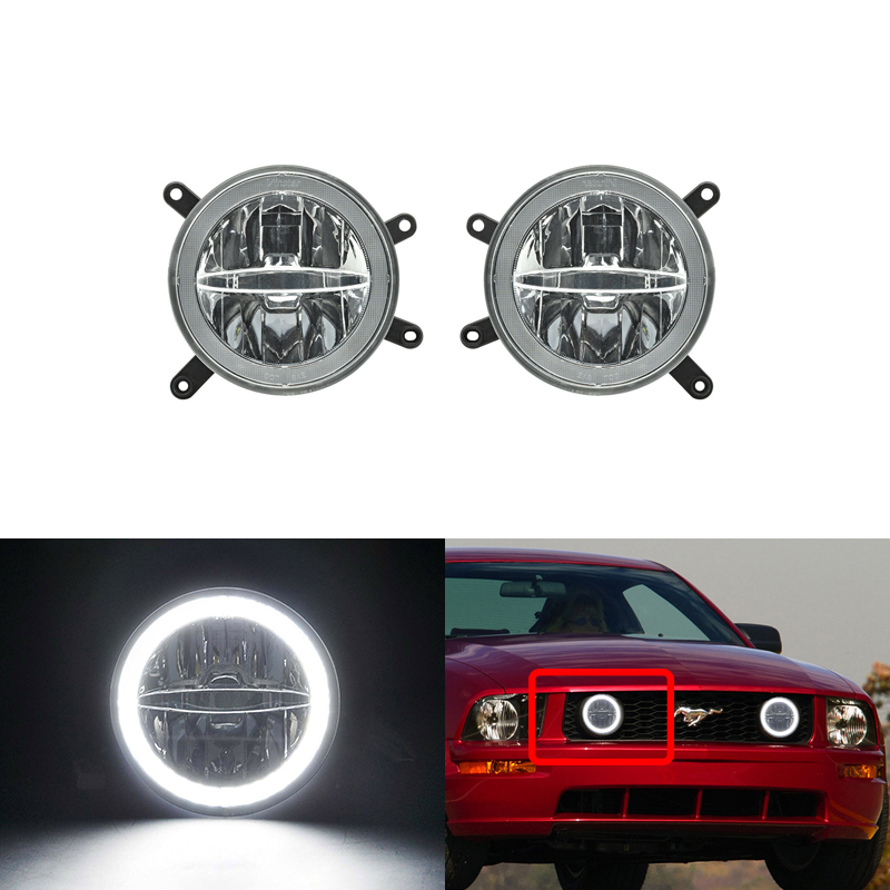 Fit For Ford <font><b>Mustang</b></font> <font><b>GT</b></font> 05-09 Center Hood Grille Led Driving Fog Lights W/ DRL Halo Daylights Car-Styling image