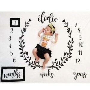 Baby Cartoon Pattern Photography Props Blankets Newborns Grow Milestone Photo Background Props Calendar Backdrop Cloth Play Mats