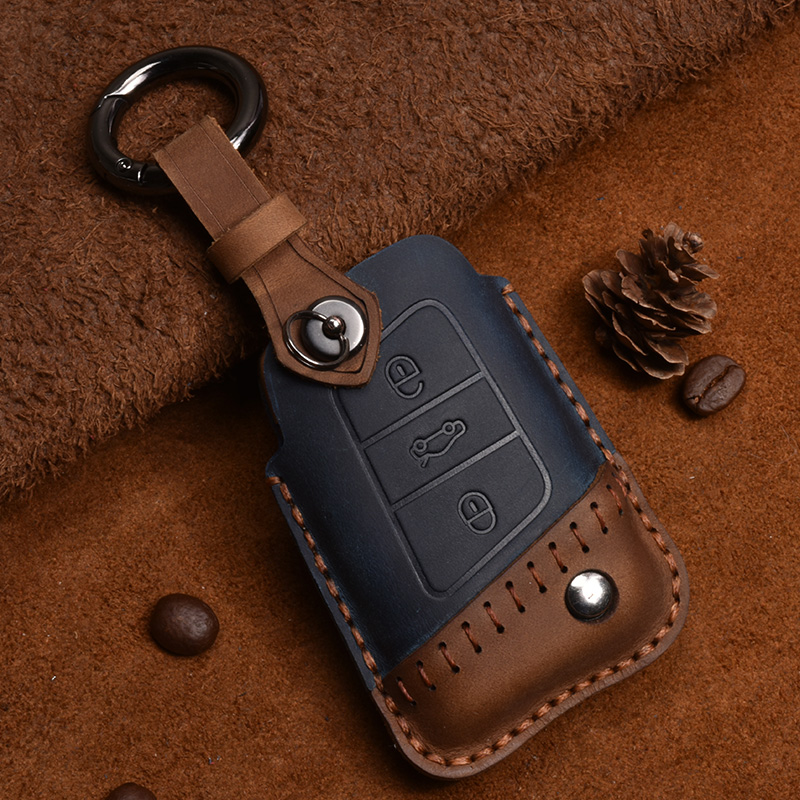 Crazy Horse Leather Car Key Case for VW Volkswagen Tayron LAVIDA SAGITAR Tiguan Magotan Passat Smart Remote Cover Accessories