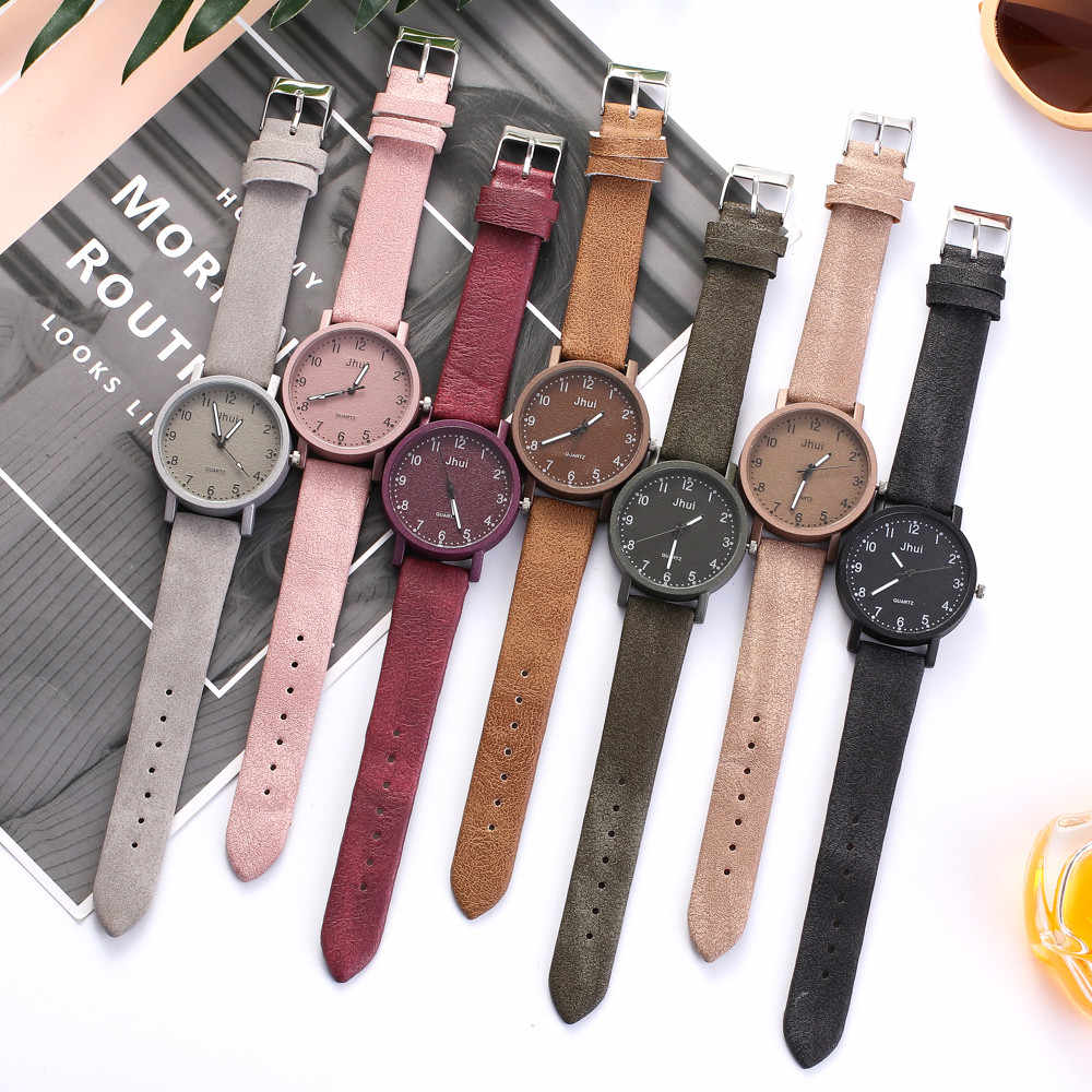 Wanita Platform Ledakan Watch Kasual Warna Solid Quartz Leather Strap Newv Jam Tangan Analog Jam Tangan Kuarsa Часы Женские 50%