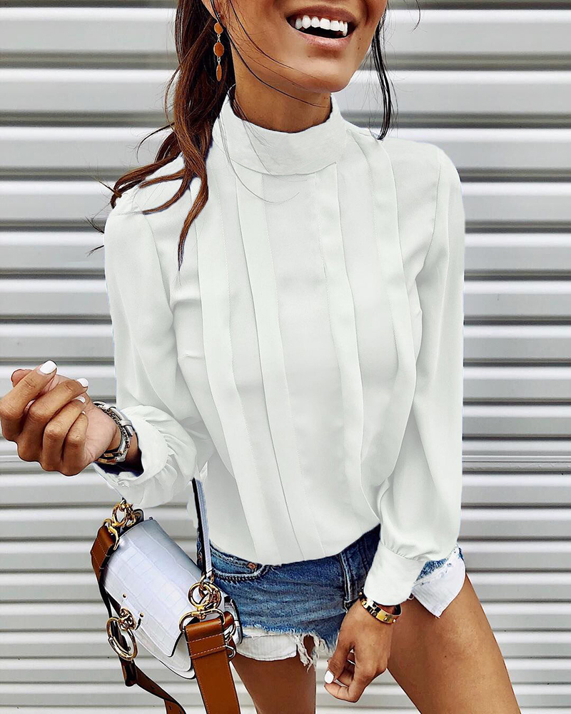 Hf3424341d9ae43228240c4dfd377141eW - INGOO Autumn Turtleneck Office Women Shirt Lantern Long Sleeve Ruched Pleated Blouses Button Elegant Blue White Shirts Female