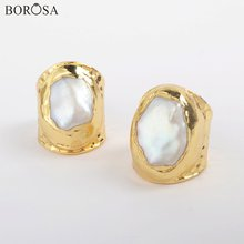 Borosa 5 шт Новое поступление позолоченное кольцо с натуральным