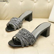 GB Brand Women Shoes Summer  luxury G Sandals 2019 Designer Rhinestone Sandals Black Genuine Leather Sole Slippers Shoes Woman