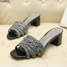 GB zapatos de marca para mujer, sandalias G de lujo, diseñador con sandalias de diamantes de imitación, zapatillas de suela de cuero genuino negro para mujer 2019