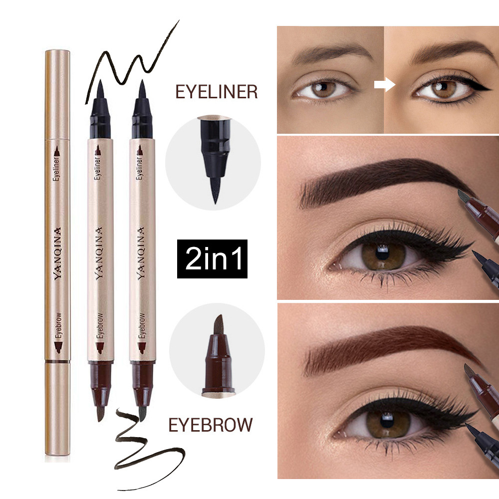 Cross Border Hot Selling Yanqina/yan Qi Na 2 In One Liquid Eyebrow Pencil 8702  Color Waterproof Liang Yong Bi