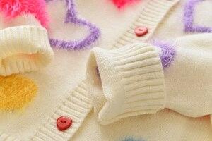 Image 5 - Пальто для девочек с надписью LOVE DD & MM новая осенняя одежда для детей 2020 милый однобортный мягкий вязаный кардиган с длинными рукавами для девочек, свитер