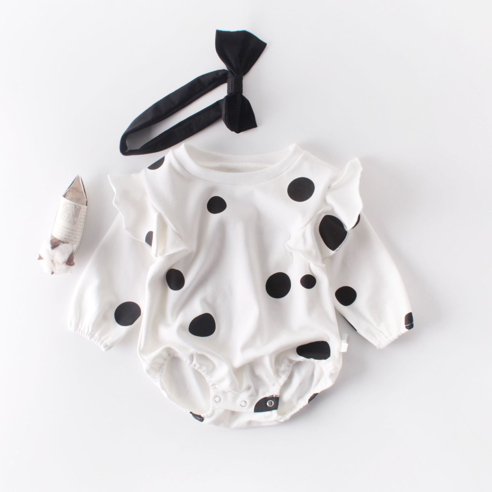 MILANCEL 2019 Autumn Baby Bodysuits Polka Dot Infant Girls Jumpsuits With Headband Full Sleeve Baby Outfit