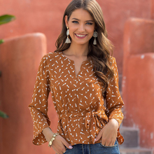 Simple Floral Printed Womens Tops And Blouses Long Sleeve Bow Sashes V-Neck Caual Shirt