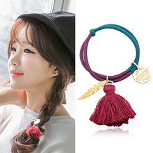 New Two-color Fringe Hair Ring Alloy Accessory Leaf Rope and Double-layer Knot Leather Band(China)
