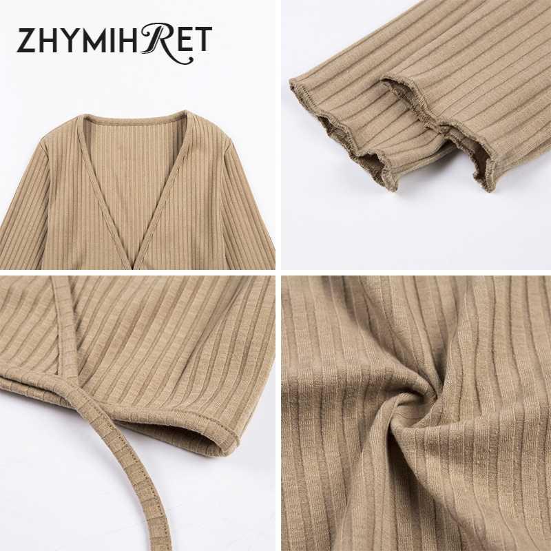 ZHYMIHRET Сексуальная v-образный вырез с открытыми плечами ребристая футболка для женщин с длинным рукавом трикотажная футболка Femme весенние кроп Топы Haut Femme