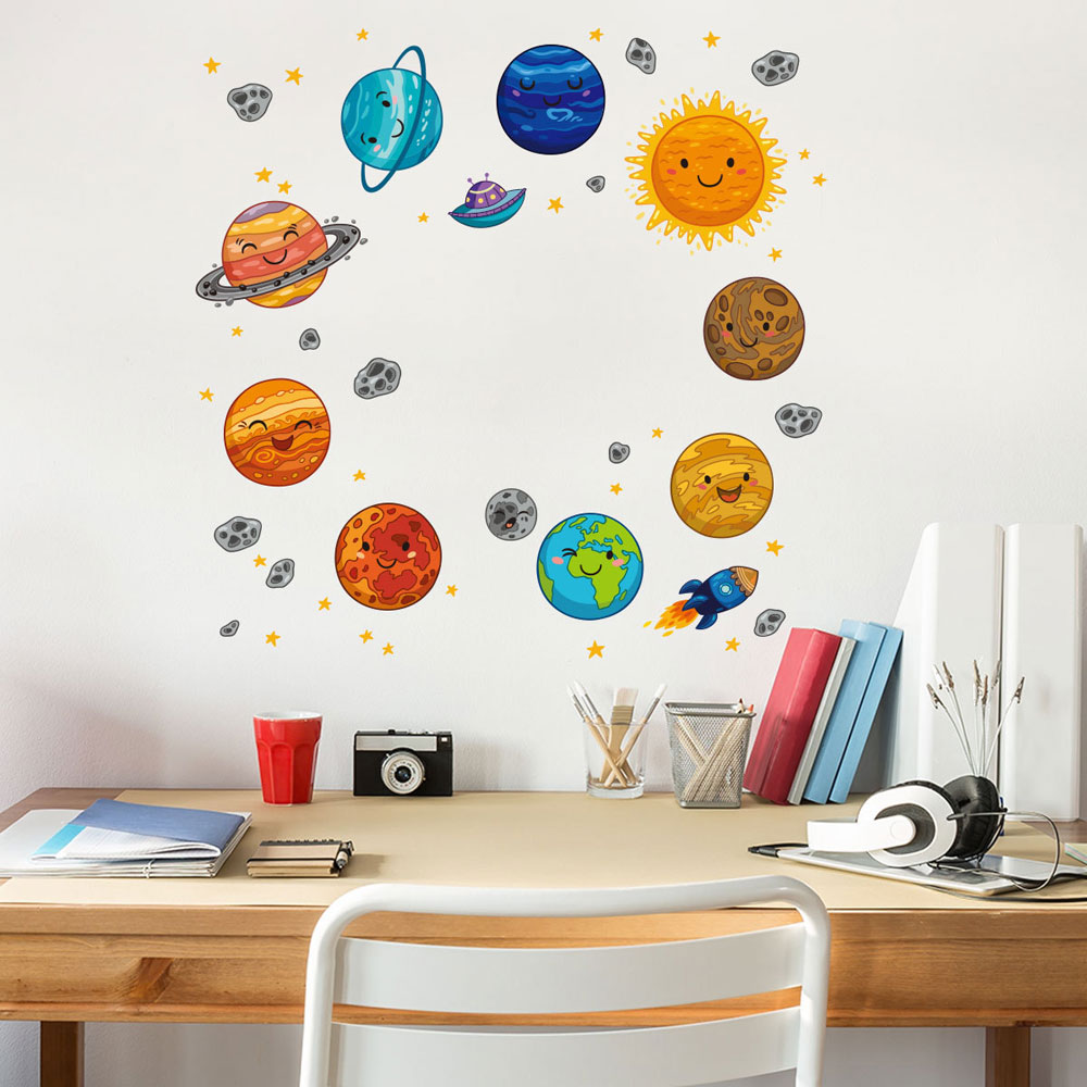 Cartoon Universe Planet Wall Sticker Kids Rooms Study Rooms Bedroom Decorations Wallpaper Mural Home Art Decals Nursery Stickers