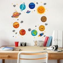Autocollant Mural de la planète, dessin animé, salles d'étude pour enfants, décorations de chambre à coucher, papier peint, décalcomanies artistiques pour la maison, pour pépinière