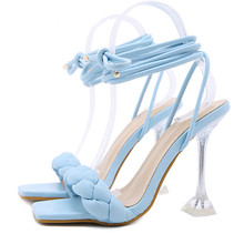 2021 New Summer Fashion Design Weave Women Sandals Transparent Strange High heels Ladies Sandals Open Toe Shoes