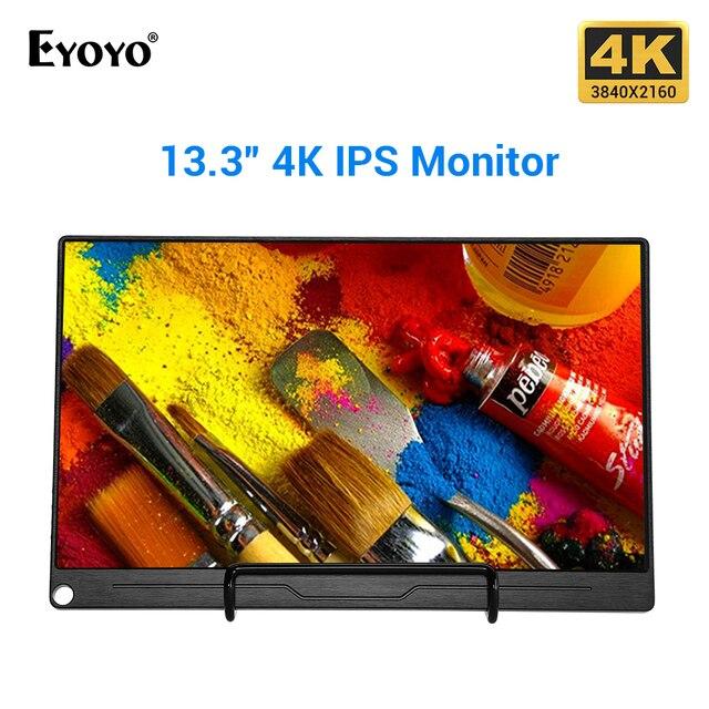 "Eyoyo EM13Q 13.3"" Portable HDMI Gaming Monitor LCD Screen UHD 3840X2160 4K IPS USB Type C for PC Raspberry Pi PS4 Xbox Switch"