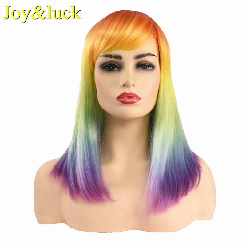 Joy&luck Long Straight Colored Wig 18inch Rainbow Synthetic Wigs for Women Cosplay Wig Costume