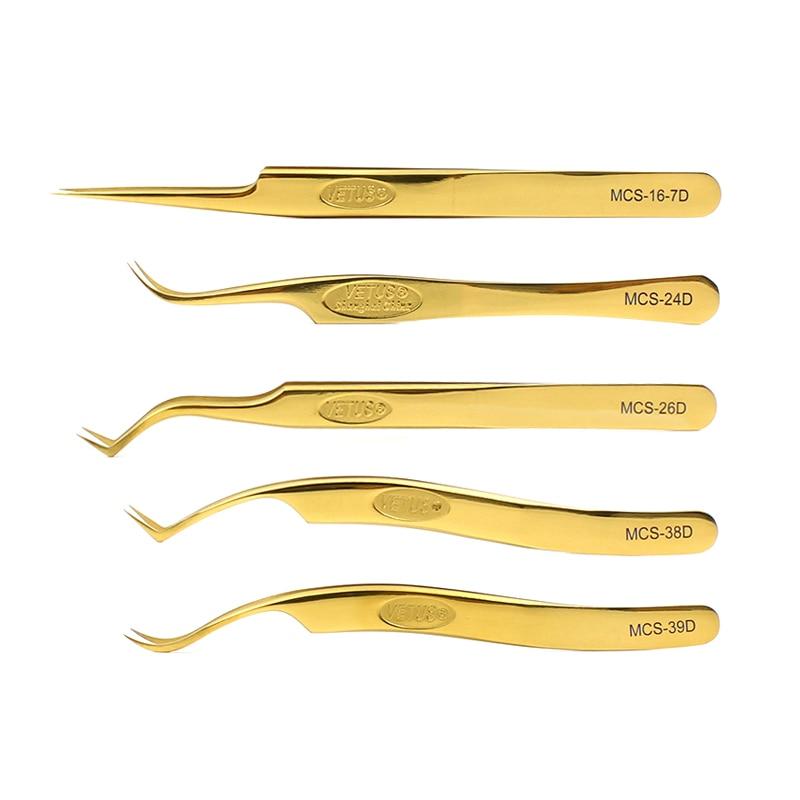 Vetus Original Golden LashTweezers Super Precision Premium Stainless Eyebrow Tweezer For Eyelashes Extension Eye Makeup Tools
