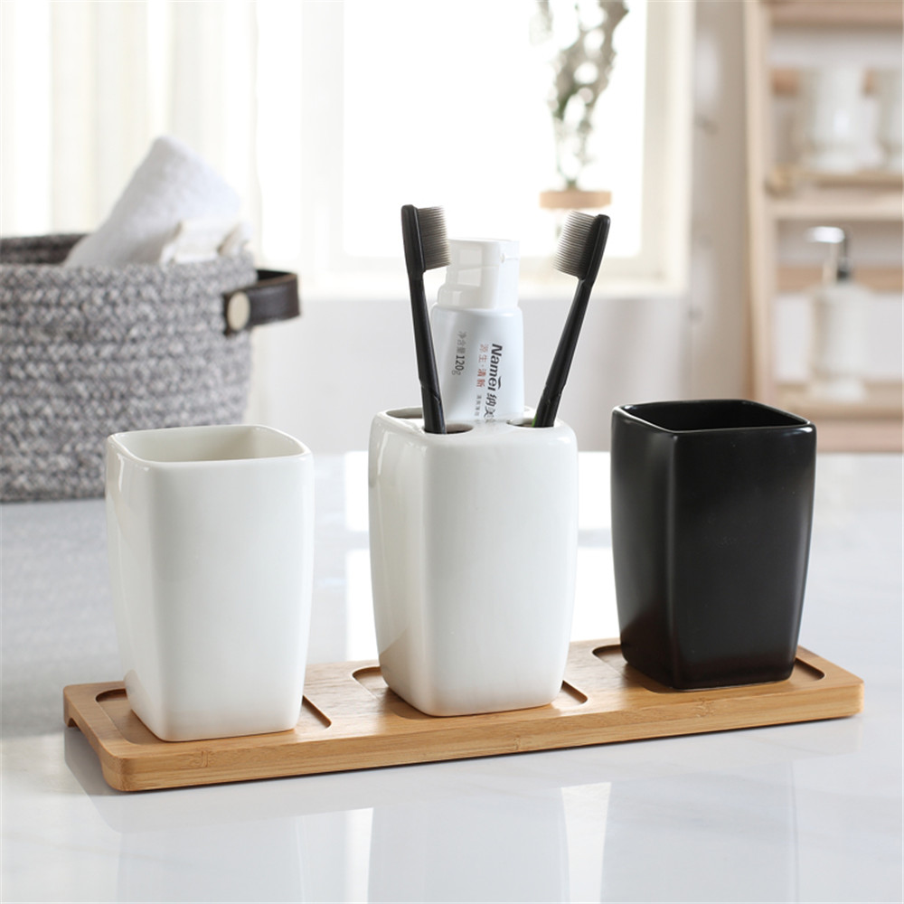 Couple Bathroom Tumblers Ceramic Mouthwash Cup Toothbrush Holder Nordic Home Bath Washing Accessory White Black Cups image