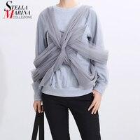 New 2019 Korean Style Women Unique Gray Sweatshirt With Mesh Warped Lady Stylish Kpop Jumper Sweatshirt Special Streetwear 5368