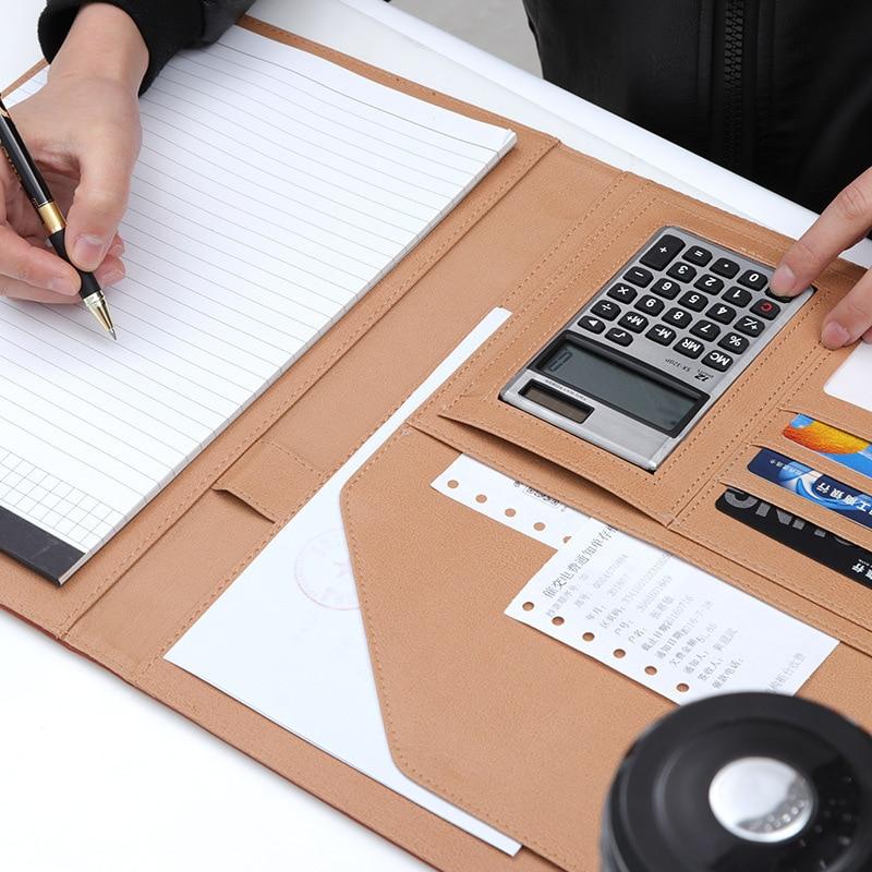 A4 Clipboard Folder Portfolio Multi-function Leather Organizer Sturdy Office Manager Clip Writing