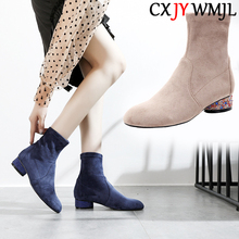 Autumn Women Ankle Boots Real Suede Booties High Quality Fashion Women's Boots Thick Heel Martin Boots Party Female High Heels