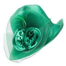 Protezione UV Cappelli Da Sole Per le donne Del Nastro Del Raso Piume Floreale Cappelli A Tesa Larga Floppy Kentucky Derby Chiesa Tea Party Dressy A433