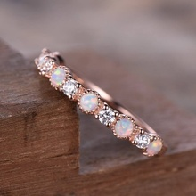 newbark high quality big cz half eternity rings rose gold and silver color prongs crown wedding jewelry rings for women Opal Wedding Ring White Cubic Zirconia Eternity Band Rose Gold Color Rings for Women Jewelry Gifts