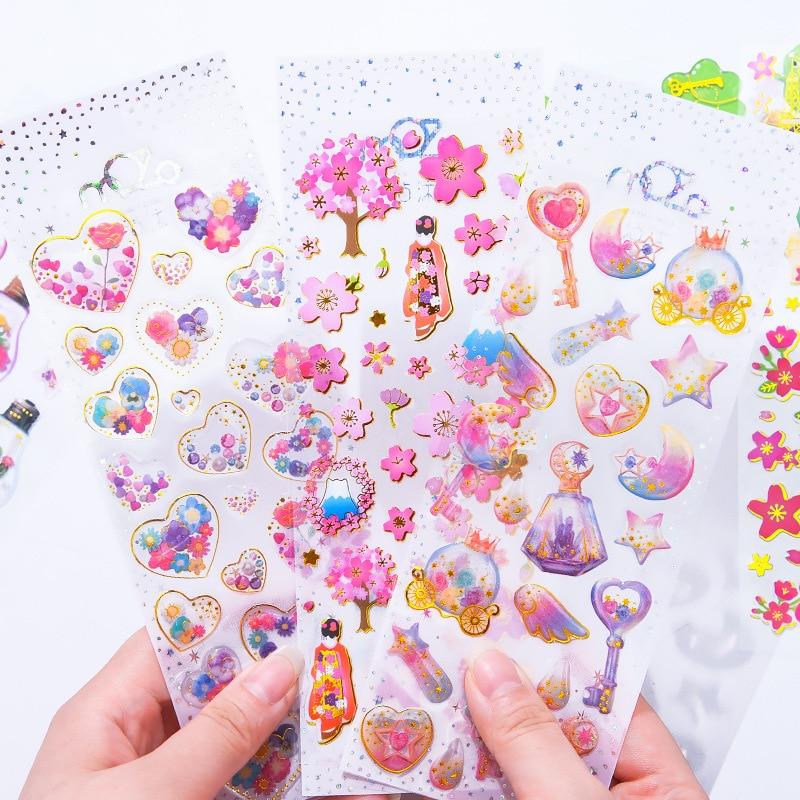 1pcs/lot Kawaii Sticker Bullet Journal StickersScrapbooking Crystal Transparent Three-Dimensional  Mobile Phone Cute Sticker