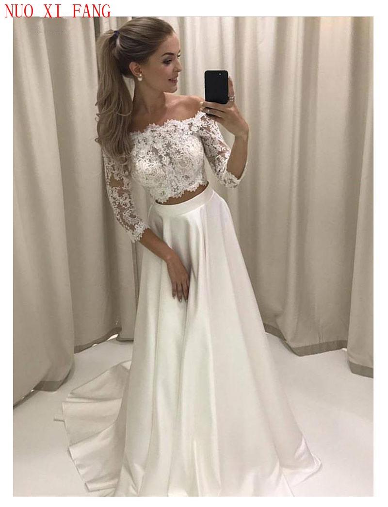 White Boho Wedding Dress Lace 3/4 Sleeves Satin Simple Princess Bride Dress 2 Sets Pieces Custom Made Wedding Gowns 2020