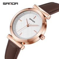 SANDA 2019 Veins Dial Design Ladies Watches Fashion Dress Quartz Watch Women Popular Brand Leather Wrist Watch relogio feminino