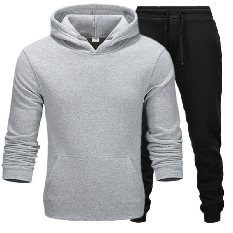 2019 New Hot Brand Men Sweatshirt Tracksuit Thermal Underwear Men Sportswear Sets Fleece Thick Hoodie+Pants Sporting Suit Male
