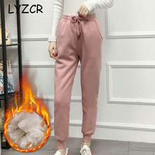 Warm Winter Pants Women Thick Cashmere Casual Loose Fleece Womens Velvet Candy Color Trousers
